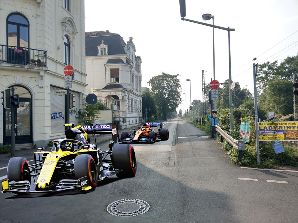 Montage: Formel 1 auf der Kaiserstraße